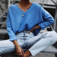 US $13.78 48% OFF|WOTWOY 2019 Autumn Winter Blue Knitted Pullovers Women Long Sleeve V neck Cashmere Sweaters Women Casual Korean Female Jumper-in Pullovers from Women