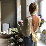 Macheda 2018 New Women Elegant High-necked Puff Sleeve Shirt Backless Wild Long-Sleeved Shirt Temperament Was Thin Female