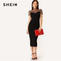 Женское прямое платье-карандаш SHEIN, черное повседневное облегающее платье в полоску с сетчатой кокеткой и воротником-стойкой, лето 2019 - Красивые платья в офис