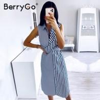 Женское платье без рукавов в полоску BerryGo, Повседневное платье-рубашка с воротником для офиса и отдыха, длинное пляжное платье