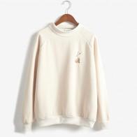 US $11.18 20% OFF|Women Harajuku Spring Rabbit Embroidery Rabbit Turtleneck Pullover Fleece Sweatshirt Thickening Female Kawaii Korean Svitshot-in Hoodies & Sweatshirts from Women