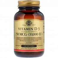 Solgar, Vitamin D3 (Cholecalciferol), 250 mcg (10,000 IU), 120 Softgels - Vitamin D