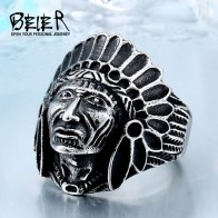 BEIER Chief Stainless Steel USA Indiana Motorcycle Rider Fashion Men's Skull Ring BR8 231 US Size 7 13-in Rings from Jewelry & Accessories on AliExpress - Pretty rings