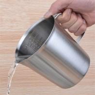 596.32 руб. 40% СКИДКА|Толще 1000 мл/500 мл мерный стакан окончил/выпечки/жидкость/Молоко Кофе нержавеющая сталь мерный стакан мера для пособия по кулинарии купить на AliExpress
