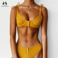 Sexy Ribbed Brazilian Push Up Bikini Micro Thong 2020 Tie String Swimsuit Women Button Swimwear Beach Wear Swim Bathing Suit