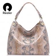 3241.24 руб. 49% СКИДКА|REALER модная женская сумка из натуральной кожи со змеиным принтом, большая сумка через плечо для женщин, дамская кожаная сумочка с короткими ручками купить на AliExpress