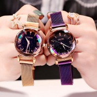 US $3.64 27% OFF|Luxury Women Watches Fashion Elegant Magnet Buckle Vibrato Purple Ladies Wristwatch 2019 New Starry Sky Roman Numeral Gift Clock-in Women