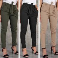 590.48 руб. 35% СКИДКА|BornToGirl повседневные тонкие шифоновые тонкие брюки для женщин с высокой талией черные Хаки зеленые брюки-in Штаны и капри from Женская одежда on Aliexpress.com | Alibaba Group