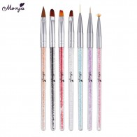 US $0.8 32% OFF|Monja 7 Styles Rhinestone Acrylic Handle Brushes Nail Art Line Flower Painting Coating Shaping Flat Fan Angle Pen-in Nail Brushes from Beauty & Health on Aliexpress.com | Alibaba Group