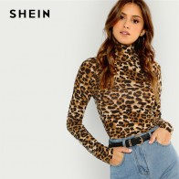 US $8.0 40% OFF|SHEIN Brown Highstreet Office Lady High Neck Leopard Print Fitted Pullovers Long Sleeve Tee 2018 Autumn Casual Women T shirt Top-in T-Shirts from Women