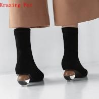 3780.88 руб. 51% СКИДКА|Krazing Pot/2019 из коровьей кожи арт дизайн бархатная обувь с острым носком; растягивающиеся сапоги с украшением в виде кристаллов на необычном каблуке; женские роскошные ботинки челси L82-in Ботильоны from Туфли on Aliexpress.com | Alibaba Group
