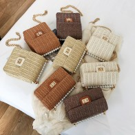 2020 Straw Bag Fashion Fearl Square Beach Bag Rattan Woven Bags for Women 2019 Summer Chain Crossbody Bags Clutch Bolsa Feminina