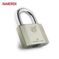 Навесные замки NAIERDI B7 серии Super B, серебристые портативные противоугонные прочные замки для багажа, чемоданов, ворот, навесной замок для безо... - По чемоданам