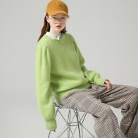 Toyouth Women Winter Basic Round Neck Long Sleeve Sweaters Fashion Green Color Solid Pullover Sweater