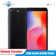 Глобальная версия Xiaomi Redmi 6 3 ГБ 64 ГБ мобильный телефон 5,45