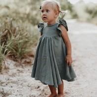721.05руб. 20% СКИДКА|Летние платья для маленьких девочек, коллекция 2019 года, Европейский и американский стиль, платье для маленьких девочек, платье принцессы с оборками, льняное платье, модная летняя одежда-in Платья from Мать и ребенок on AliExpress