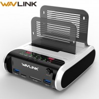 US $47.94 28% OFF|Wavlink 2.5 3.5 inch USB 3.0 to SATA Dual Bay Hard Drive Docking Station w/ Offline Clone&UASP Card Reader for 2.5