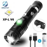 Ультра яркий светодиодный фонарик с XP-L V6, светодиодная лампа с бусинами, водонепроницаемый фонарик с 4 режимами освещения, многофункциональ...