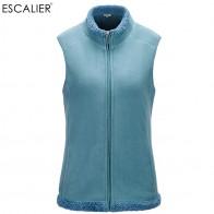 US $18.75 30% OFF|ESCALIER Women Cotton Plush Vest Plus Size Gilet Zipped Lightweight Bodywarmer Casual sleeveless Outerwear Coat Vests-in Vests & Waistcoats from Women