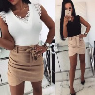 US $9.99 30% OFF Missufe Sexy V Neck Lace T Shirts Lady Sleeveless Patchwork Solid Tops Shirt Female Bandage Pullovers Summer Women