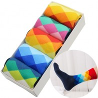 US $11.53 45% OFF|Rhombus Gradient Men Socks 5 Pair/set Colorful Harajuku Cotton Men Long Winter Happy Socks Hipster Skateboard Funny Socks-in Men