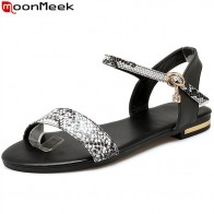 US $13.52 48% OFF|MoonMeek 2019 high quality summer women sandals flat with buckle fashion ladies shoes flat sandals casual Students shoes size 43-in Women