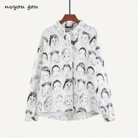 612.68 руб. 55% СКИДКА|Nvyou gou Мода характер печатных блузка для женщин блузки с граффити уличная отложной воротник с длинным рукавом Хлопок Свободная рубашка купить на AliExpress
