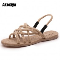 US $10.99 50% OFF 2019 Summer new Rome flat Cross straps hemp rope Leisure Flat Women Sandals fashion Solid color peep Toe Woman shoes M597-in Women