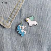 XEDZ модные джинсы брошь Заколки ювелирные аксессуары милые животные Единорог и ангел овца Альпака Эмаль Сплав Брошь для женщин корсаж - Единороги