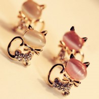 Корейский модный милый кот камень со стразами Для женщин серьги подарок прекрасные милые ювелирные украшения Прямая доставка купить на AliExpress