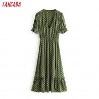 1053.93руб. 30% СКИДКА|Tangada женское винтажное зеленое платье миди в горошек с v образным вырезом и коротким рукавом, с открытой талией, плиссированное платье 3H250-in Платья from Женская одежда on AliExpress - 11.11_Double 11_Singles