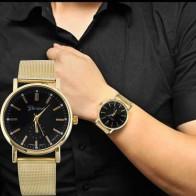 US $1.48 |2019 Luxury Brand Quartz Watch Unisex Classic Gold Stainless Steel Mesh Band Wrist Watches Fashion Man Women Watch relogio Clock-in Women