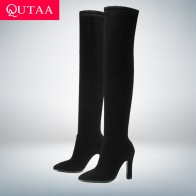 US $29.27 48% OFF|QUTAA 2020 Women Over The Knee High Boots Slip on Winter Shoes Thin High Heel Pointed Toe All Match Women Boots Size 34 43-in Over-the-Knee Boots from Shoes on Aliexpress.com | Alibaba Group