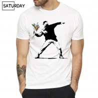 US $6.28 50% OFF|Men Flower Thrower Banksy Panda Guns Urban Art T shirt Women Summer Unisex Short Sleeves O Neck Hipster T shirt Casual Clothes-in T-Shirts from Men