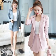 US $23.17 5% OFF Fashion Women Skirt Suits One Button Notched Striped Blazer Jackets and Slim Mini Skirts Two Pieces OL Sets Female Outfits 2019-in Skirt Suits from Women