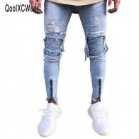 US $19.71 32% OFF|QoolXCWear Brand Designer Slim Fit Ripped Jeans Men Hi Street Mens Distressed Denim Joggers Knee Holes Washed Destroyed Jeans-in Jeans from Men