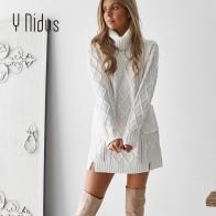 1708.67 руб. 40% СКИДКА|Для женщин пуловер зимнее Белое Женское платье свитер с высоким, плотно облегающим шею воротником с узором
