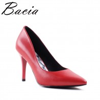 US $95.11 |Bacia RED HEELS Sheepskin 9.4cmHigh Thin Heel Pumps Genuine Leather Heels Women Pointed Toe Elegant Party Shoes Size 35 41 SA046-in Women