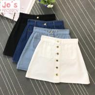US $10.88 15% OFF|2019 Spring Summer Women A line Mini Jeans Skirt Female Solid High Waist Slim Denim Skirt Harajuku Above Knee Skirt With Pockets-in Skirts from Women