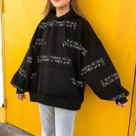 706.56 руб. 5% СКИДКА|Ulzzang зимняя женская Толстовка Harajuku с буквенным принтом, толстовка с капюшоном bf с длинными рукавами, свободные пуловеры, толстовка купить на AliExpress