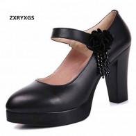 2341.82 руб. 18% СКИДКА|ZXRYXGS/Брендовые женские туфли лодочки из воловьей кожи на платформе, новинка 2019 года, женская модная обувь со стразами и цветами, обувь из натуральной кожи на высоком каблуке-in Женские туфли from Туфли on Aliexpress.com | Alibaba Group