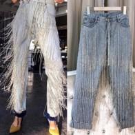4339.32 руб. 16% СКИДКА|Осенние модные женские джинсы с бахромой и бисером ручной работы-in Джинсы from Женская одежда on Aliexpress.com | Alibaba Group