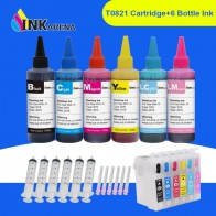 INKARENA Ink Bottle 6×100ml  + T0821 - T0826 Refill Printer Ink Cartridge For Epson Stylus Photo R270 R290 R390 RX590 RX610