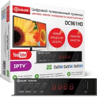 Ресивер DVB-T2 D-COLOR DC961HD,  черный