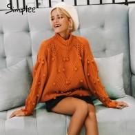 1438.45 руб. 40% СКИДКА|Женская водолазка Simplee,осенний, зимний женский модный повседневный джемпер с длинными рукавами и баской 2019 года, пуловер, вязаный свитер,-in Пуловеры from Женская одежда on Aliexpress.com | Alibaba Group