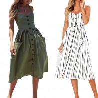 Повседневный винтажный сарафан, женское летнее платье, 2020, бохо, сексуальное платье, миди, на пуговицах, с открытой спиной, Пляжное, в горошек, в полоску, с цветочным рисунком, женское платье-in Платья from Женская одежда on AliExpress
