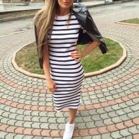 381.02 руб. 44% СКИДКА Повседневное летнее женское платье с коротким рукавом и круглым вырезом для стройных, обтягивающее Полосатое платье с разрезом по бокам женские платья-in Платья from Женская одежда on Aliexpress.com   Alibaba Group