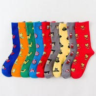 US $1.65 25% OFF|Men Socks Marvel Novel Comics Avenger Captain America Cartoon Socks Batman Superman Iron Man Hulk Socks Women Cotton Couple Sox-in Men