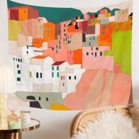 Италия Coast House живописный гобелен настенный греческий остров Санторини Настенная роспись гобелены домашний декор художественное украшение - Гобелены с Алиэкспресс