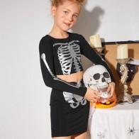 Girls Skeleton Print Top & Skirt Set